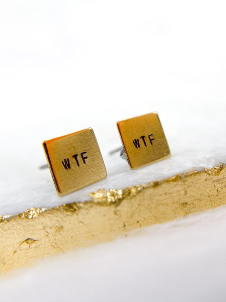 RESTOCKED!! 'WTF' Hand Stamped Square Earrings