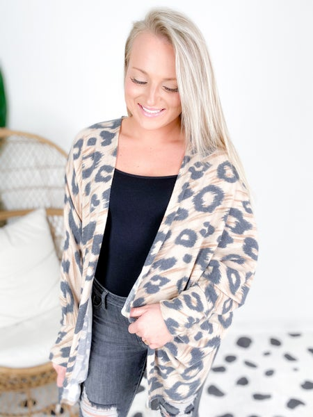 PLUS/REG Honeyme Leopard Dolman Sleeve Open Cardigan