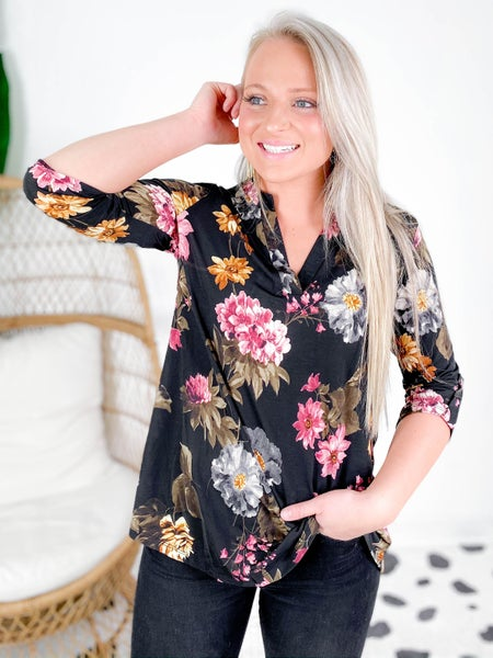 PLUS/REG Honeyme Black Floral Gabby Blouse