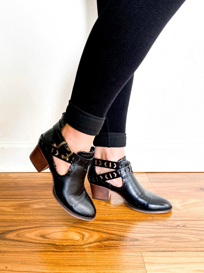 Split Shank  Western Booties with Laser Cut Strap (Multiple Colors)