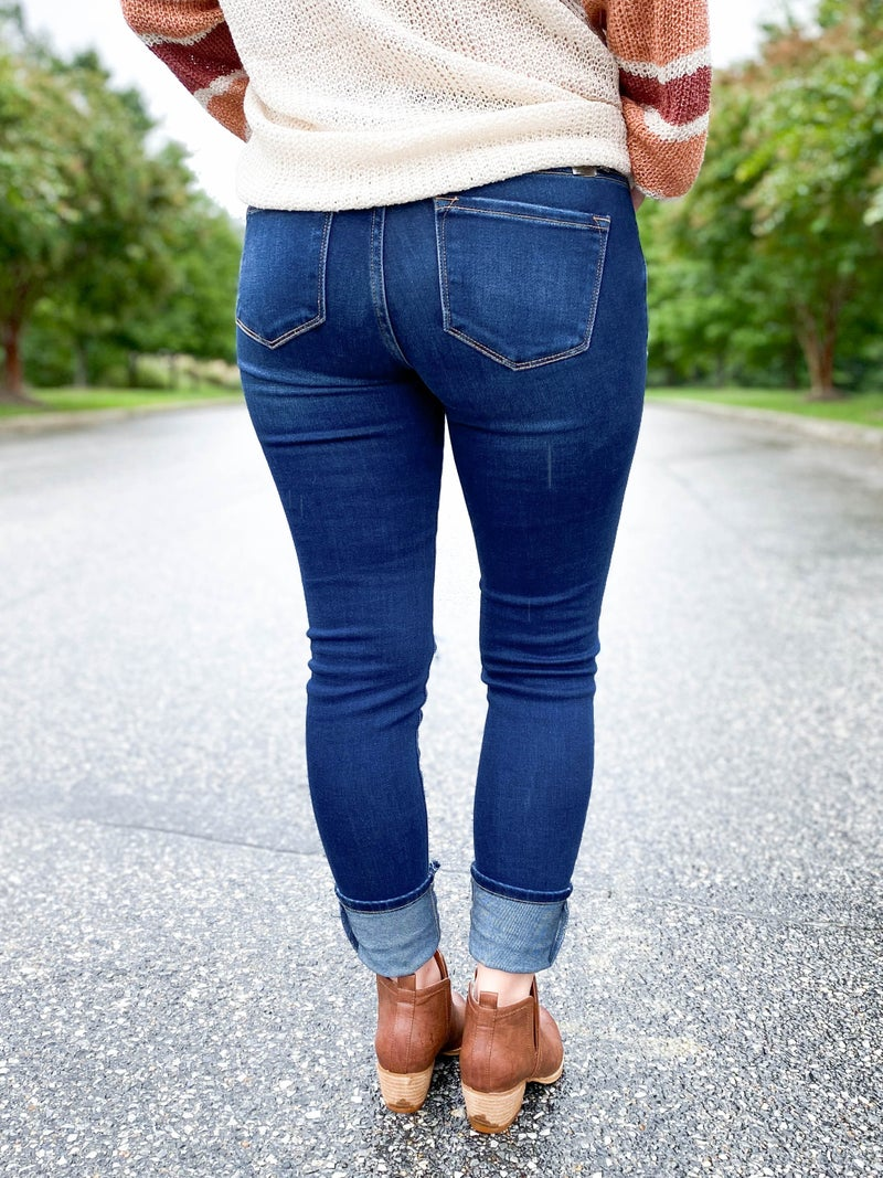 PLUS/REG KanCan Rock Your Body Mid Rise Distressed Skinny Jeans