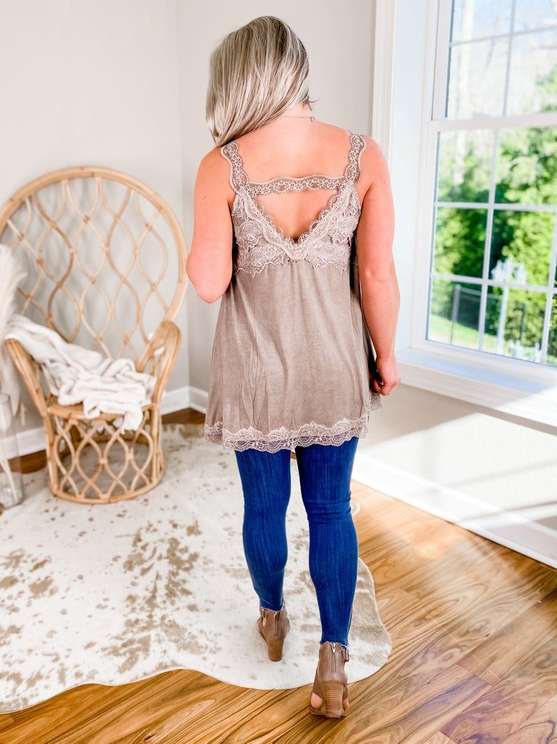 Knit Tank Top with Lace Detail (Multiple Colors)