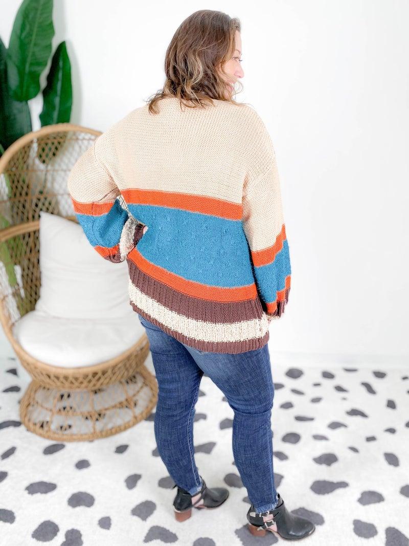 PLUS Color Block Multi Knit Sweater (Multiple Colors)