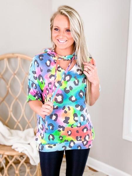 PLUS/REG Rainbow Leopard Short Sleeve Hoodie Top With Key Hole Detail