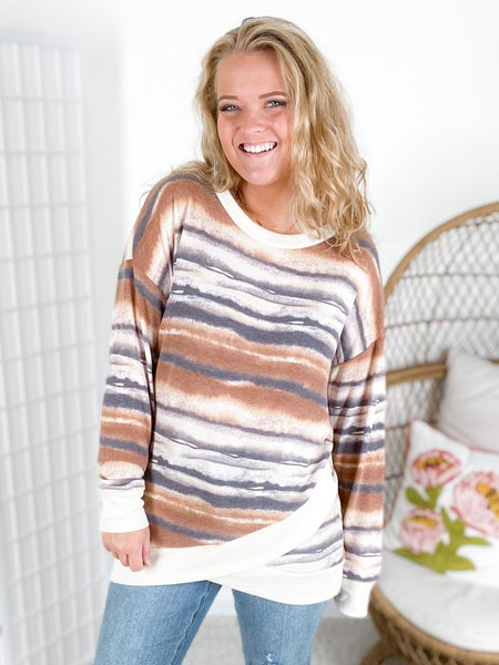 PLUS/REG Honeyme Desert Sand Long Sleeve Top