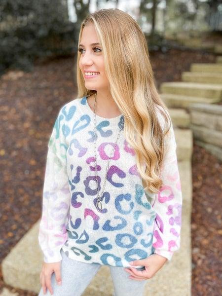 Rainbow Leopard Ombre Lightweight Sweater