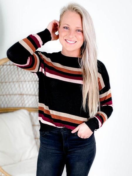 Multi Color Stripe Round Neck Sweater