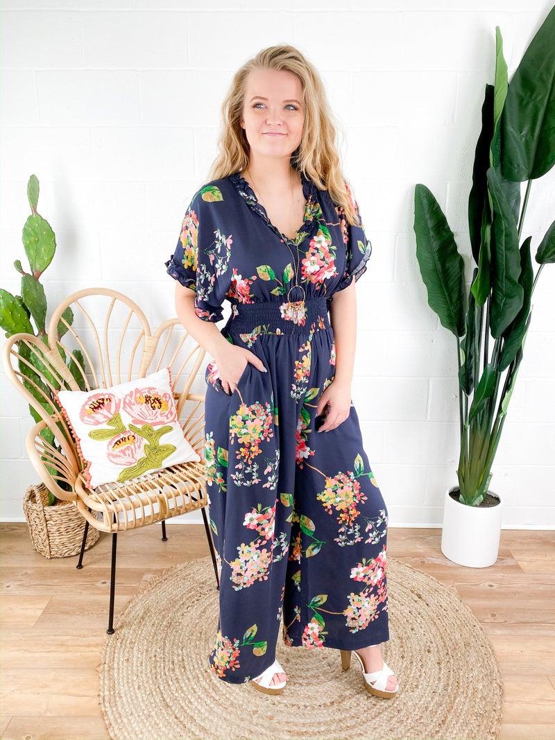PLUS/REG Floral Wide Leg Romper