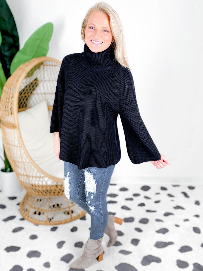 Bell Sleeve Turtleneck Knit Sweater Top (Multiple Colors)