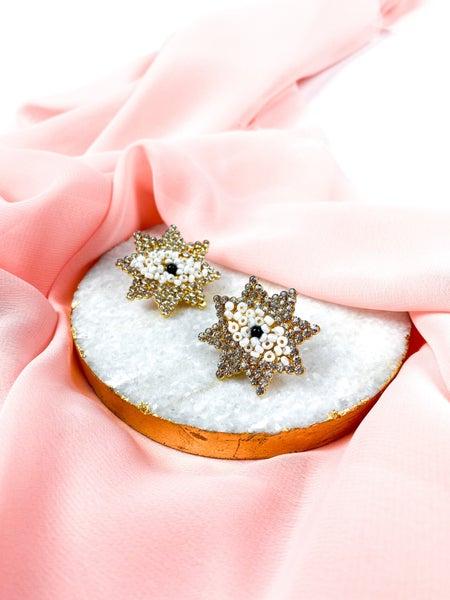 White & Clear Swarovski Gold Eye Beaded Earrings