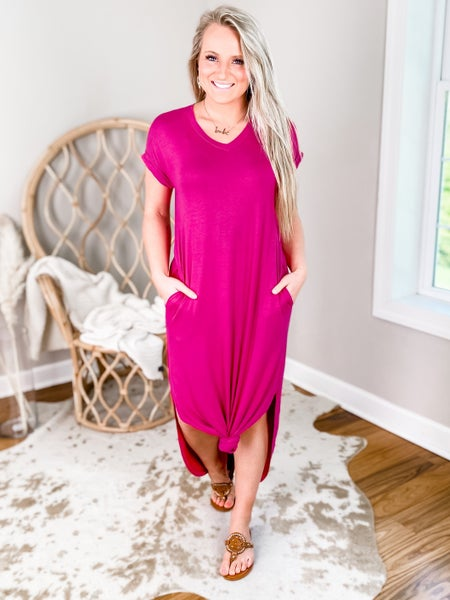 Door buster!! PLUS/REG Solid Short Sleeve V Neck Maxi Dress (Multiple Colors)