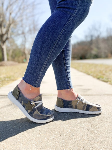 Hey Girl Camo Sneakers With Star Patch