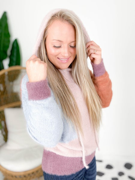 Fuzzy Color Block Hooded Sweater