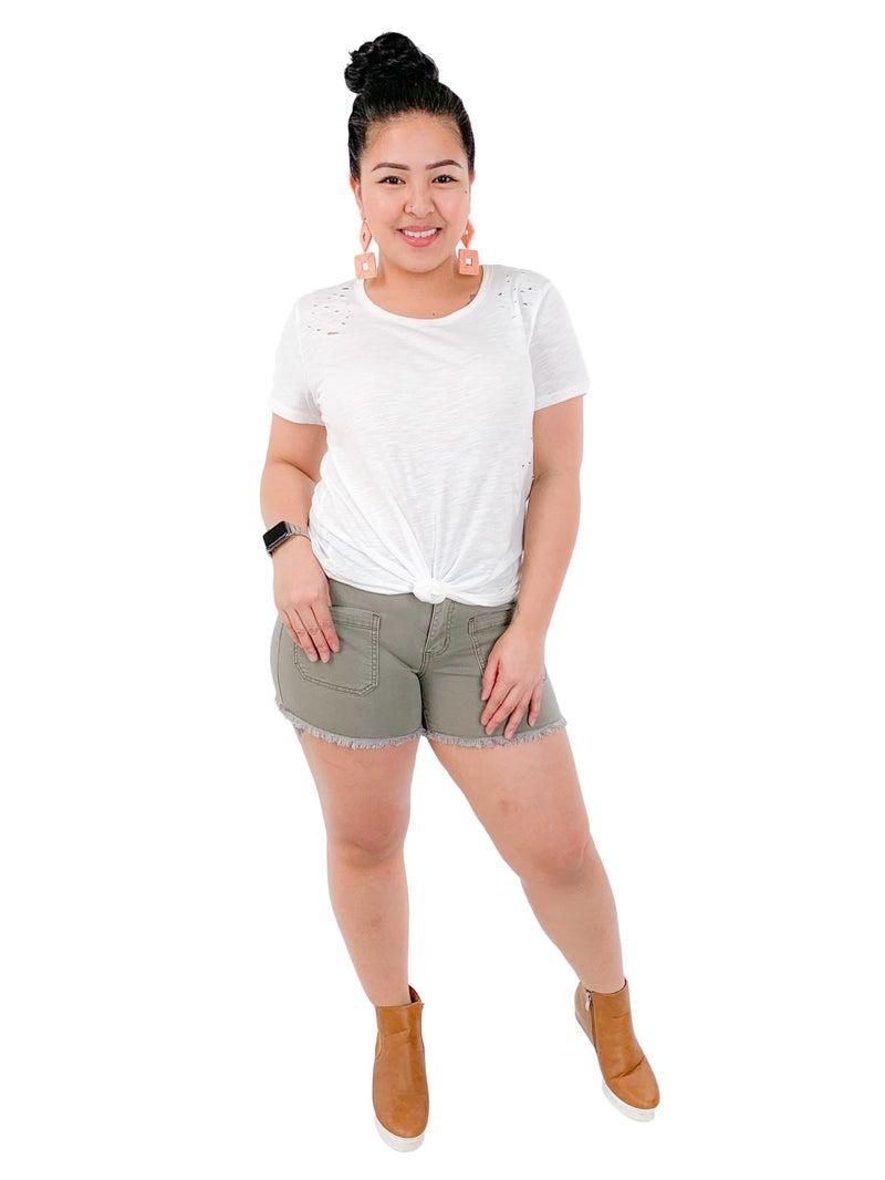 Judy Blue Olive Juice Shorts