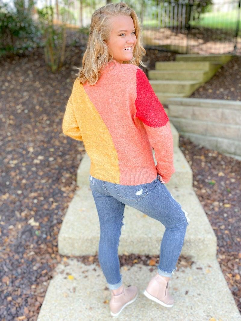 Warm Tones Color Block Crew Neck Sweater