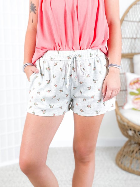 PLUS/REG Ditsy Floral Print Knit Lounge Shorts (Multiple Colors)