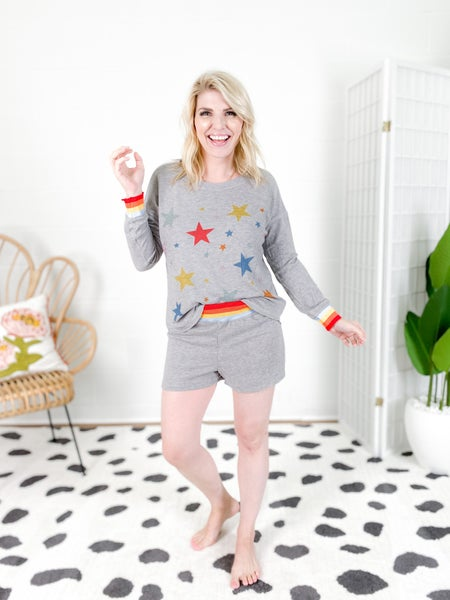 Rainbown Star Power Long Sleeve Lounge Wear Set with Shorts