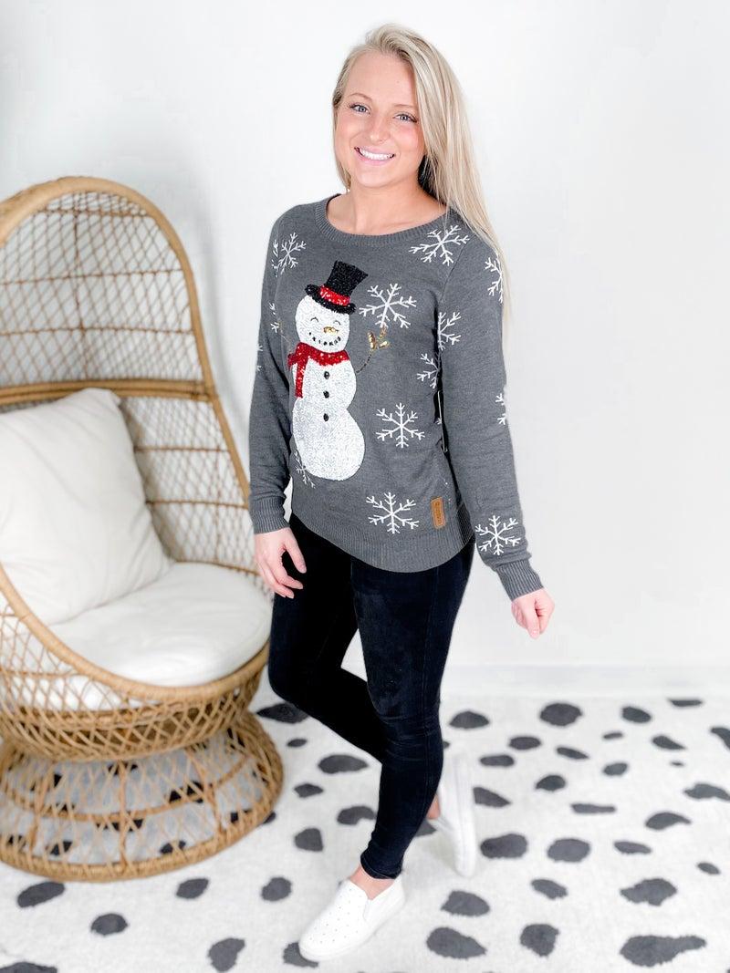 PLUS/REG Women's Grey Sequin Snowman Christmas Sweater