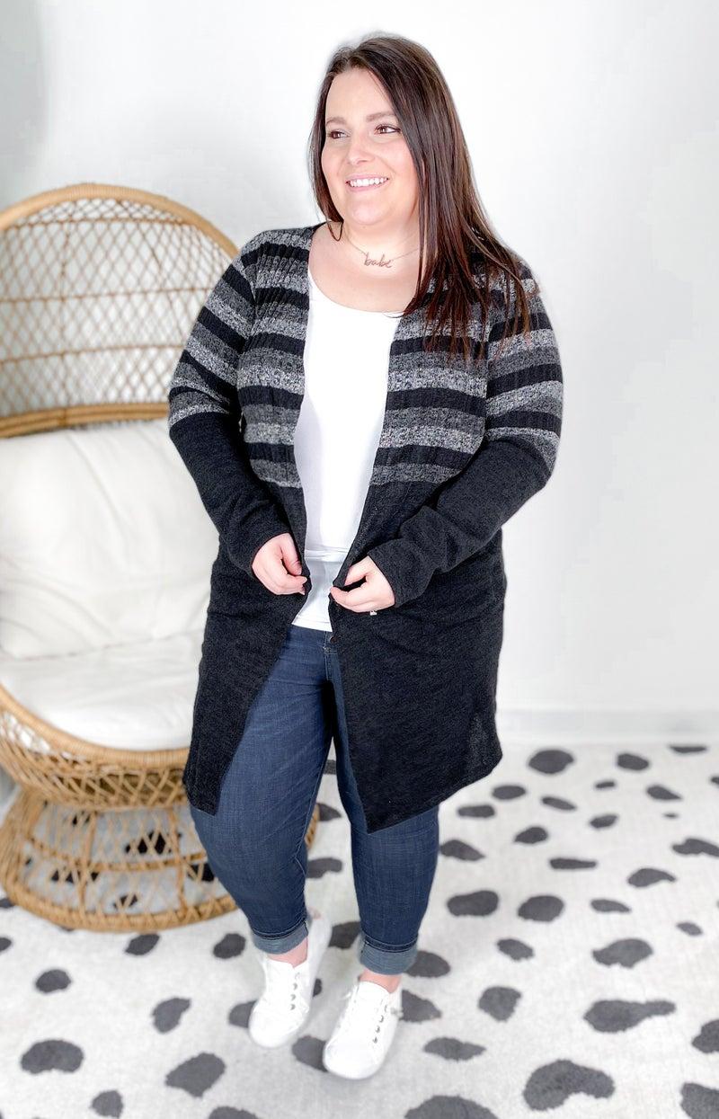 PLUS/REG Solid & Stripe Cardigan With Pockets (Multiple Colors)
