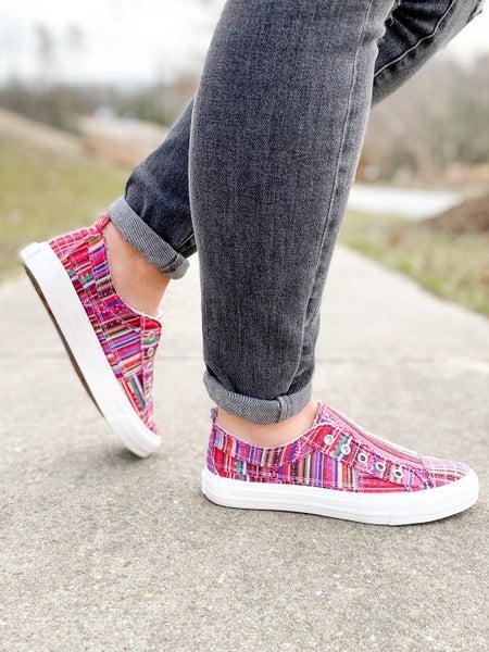 Distressed Serape Unlaced Sneakers