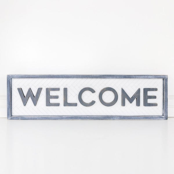 Welcome Chevron Reversible Wooden Sign 9x32
