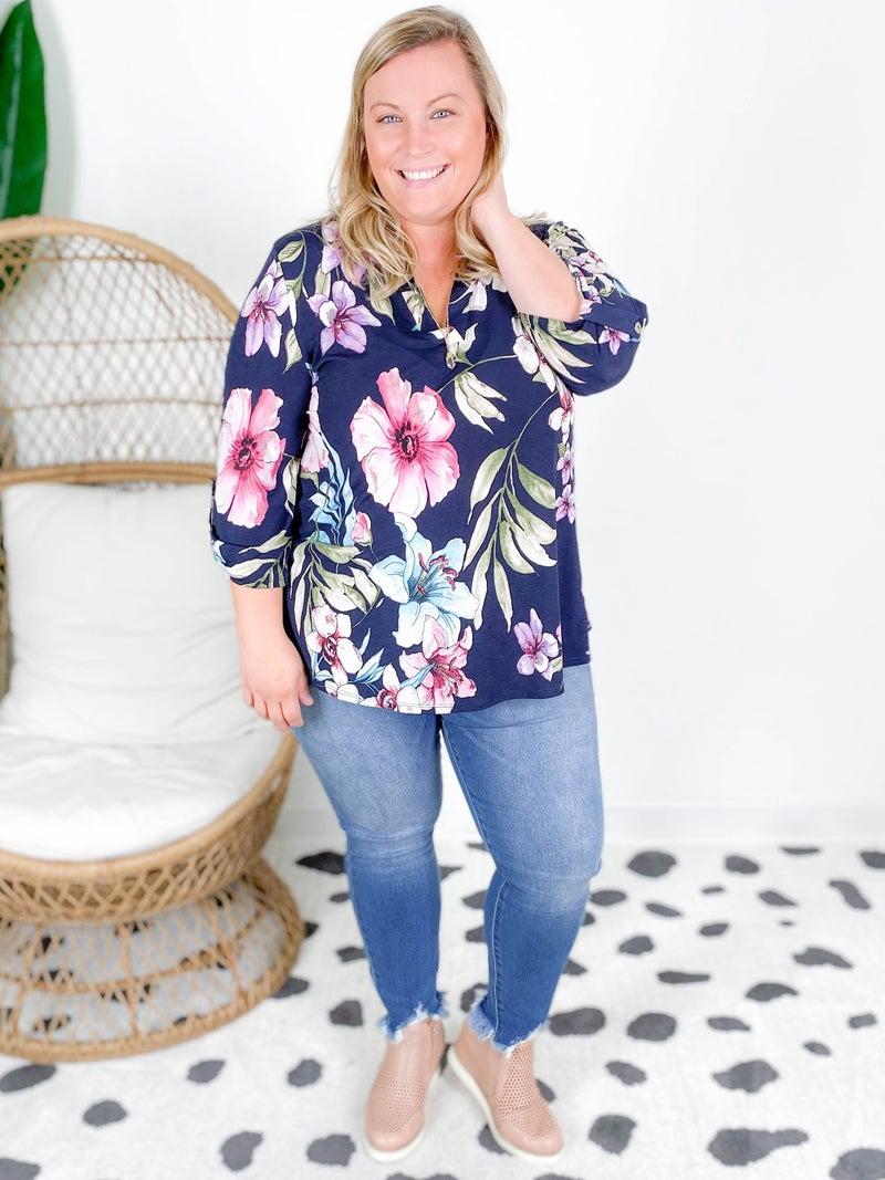 PLUS/REG Honeyme Navy Floral Gabby Blouse