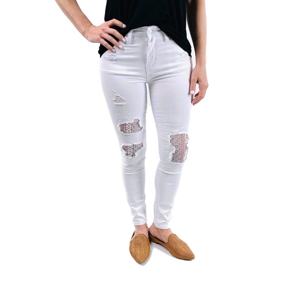 Plus/Reg Judy Blue White Lace Jeans