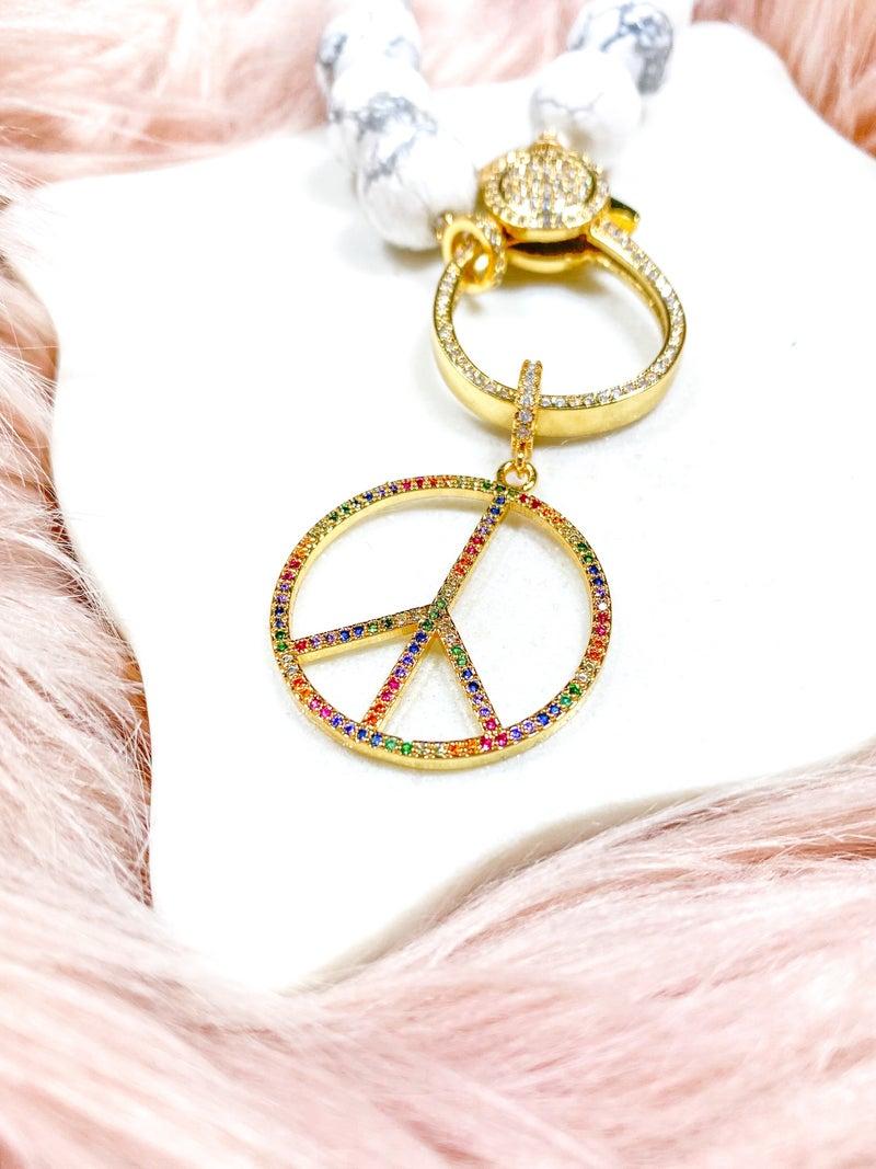 """Karli Buxton 1.5"""" Rainbow Pavé Peace Sign Pendant"""