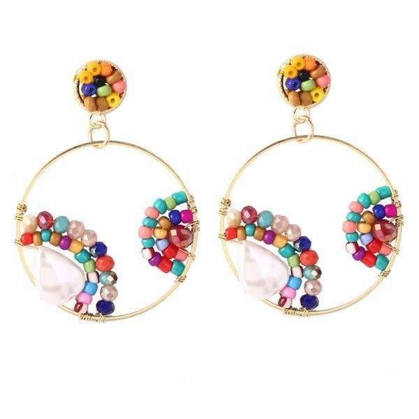 Liza Round Pearl & Natural Stone Beaded Earrings (Multiple Colors)