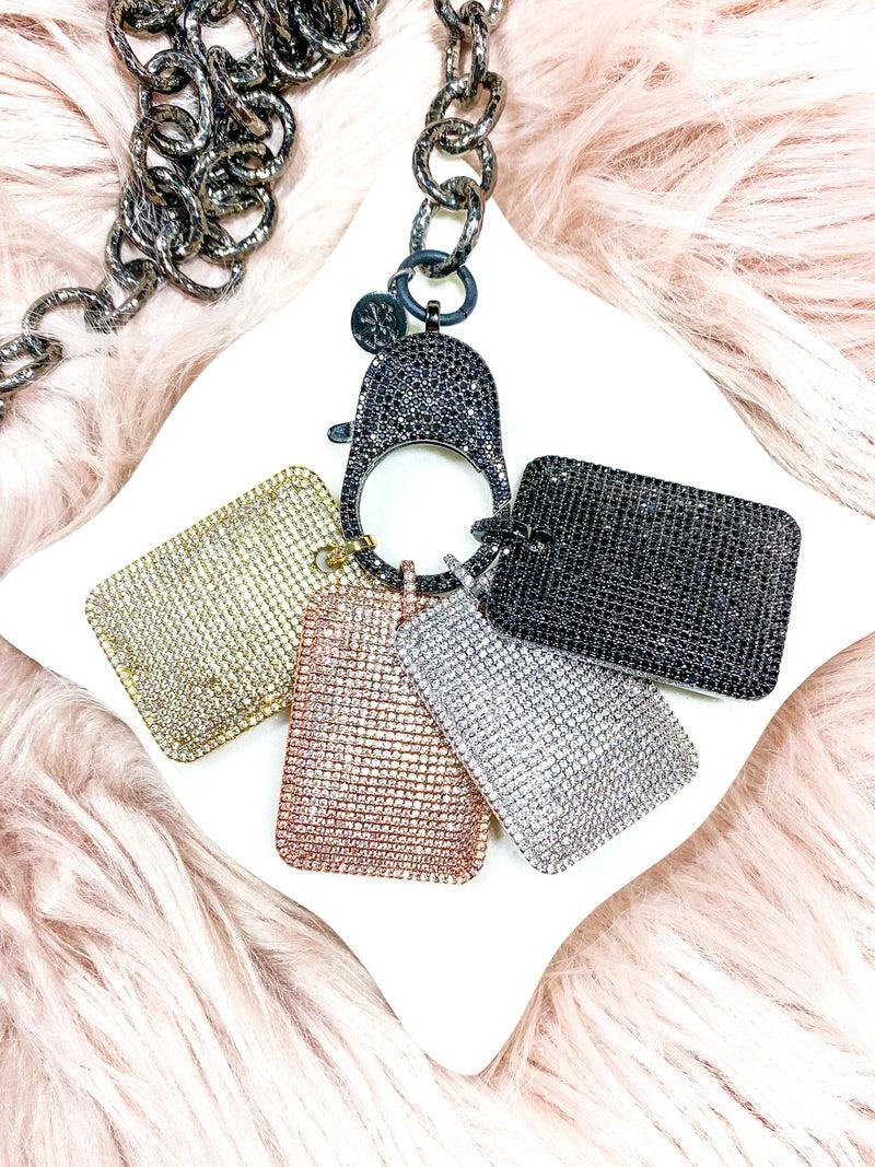 """Karli Buxton 1.5"""" Pavé Dog Tag Pendant (Multiple Colors)"""