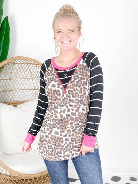 PLUS/REG Honeyme Soft Leopard Top With Stripe Sleeve
