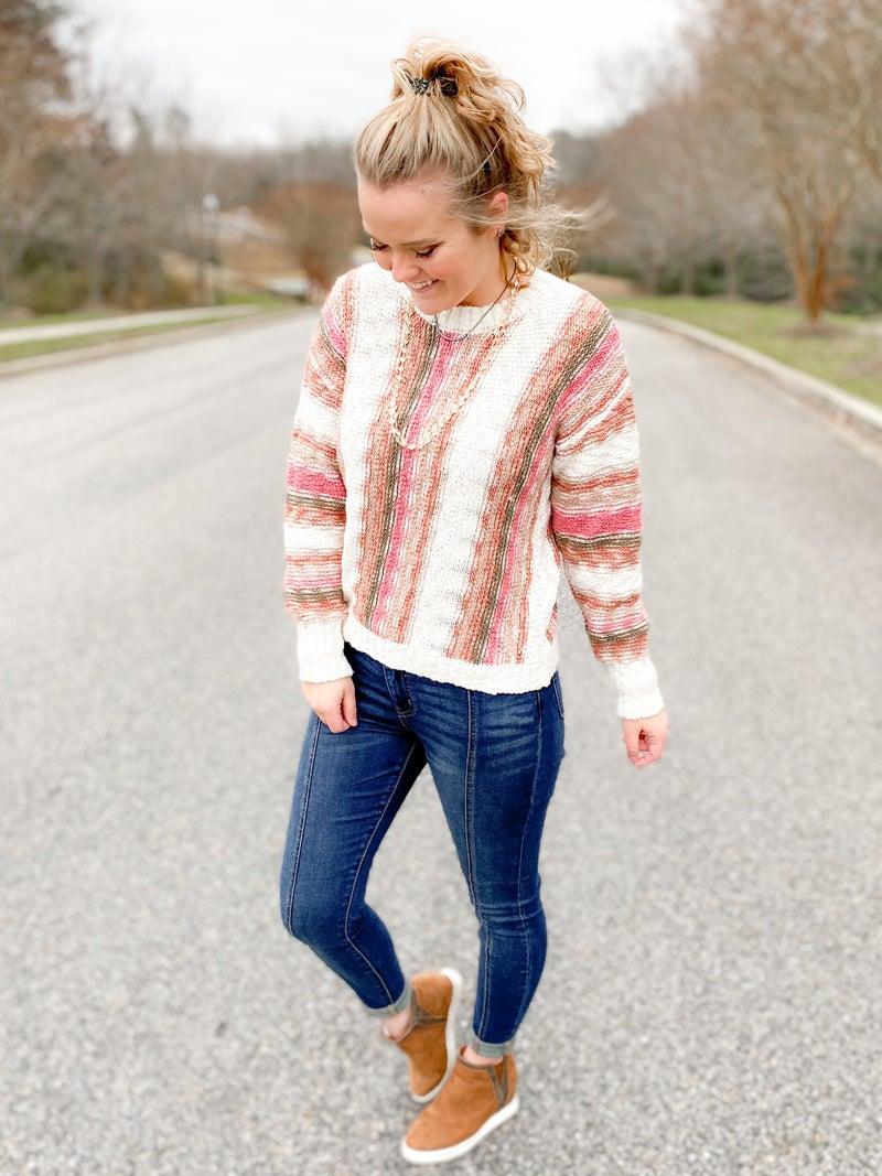 Long Sleeve Multi Color Crochet Knit Sweater