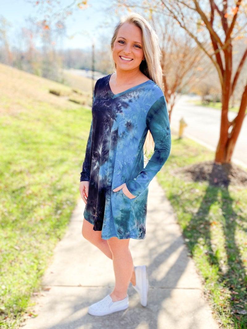 PLUS/REG Blue Tie Dye Dress With Pockets