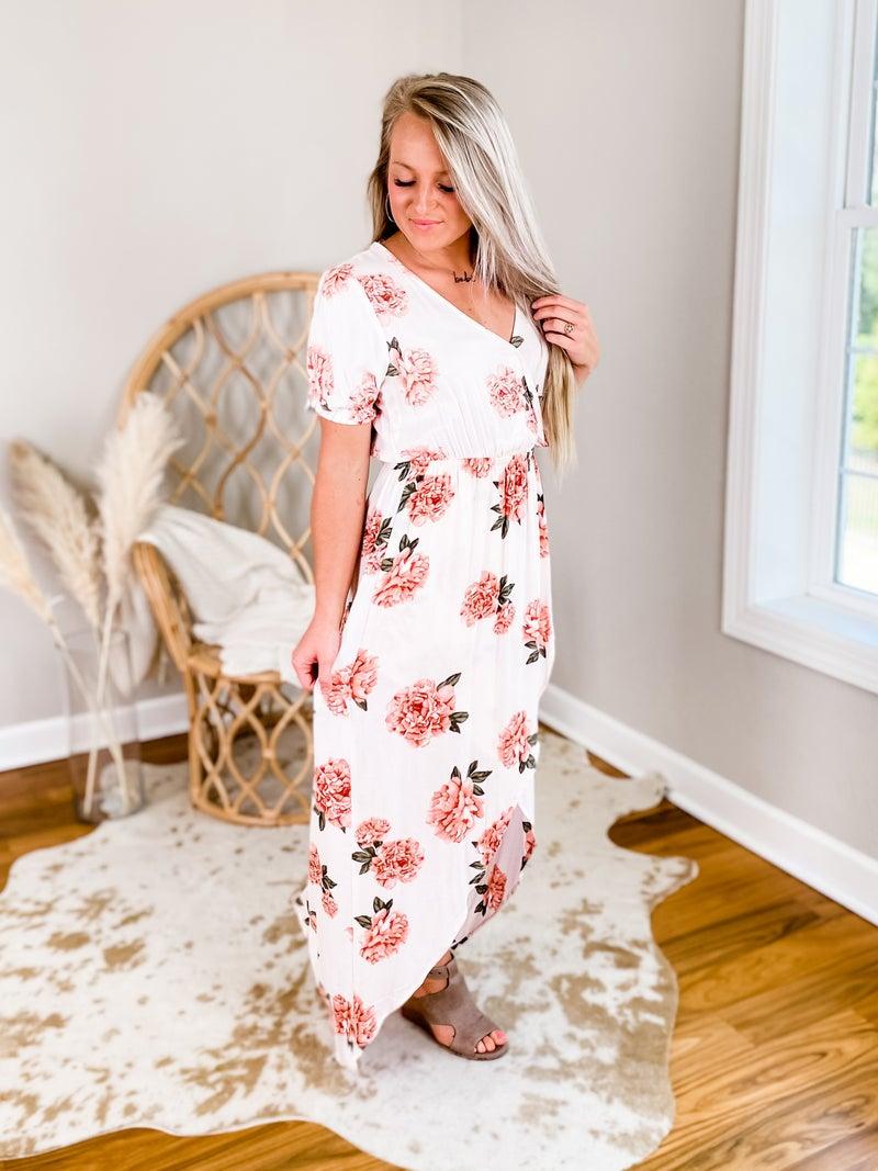 Short Sleeve Floral Maxi Dress (Multiple Colors)
