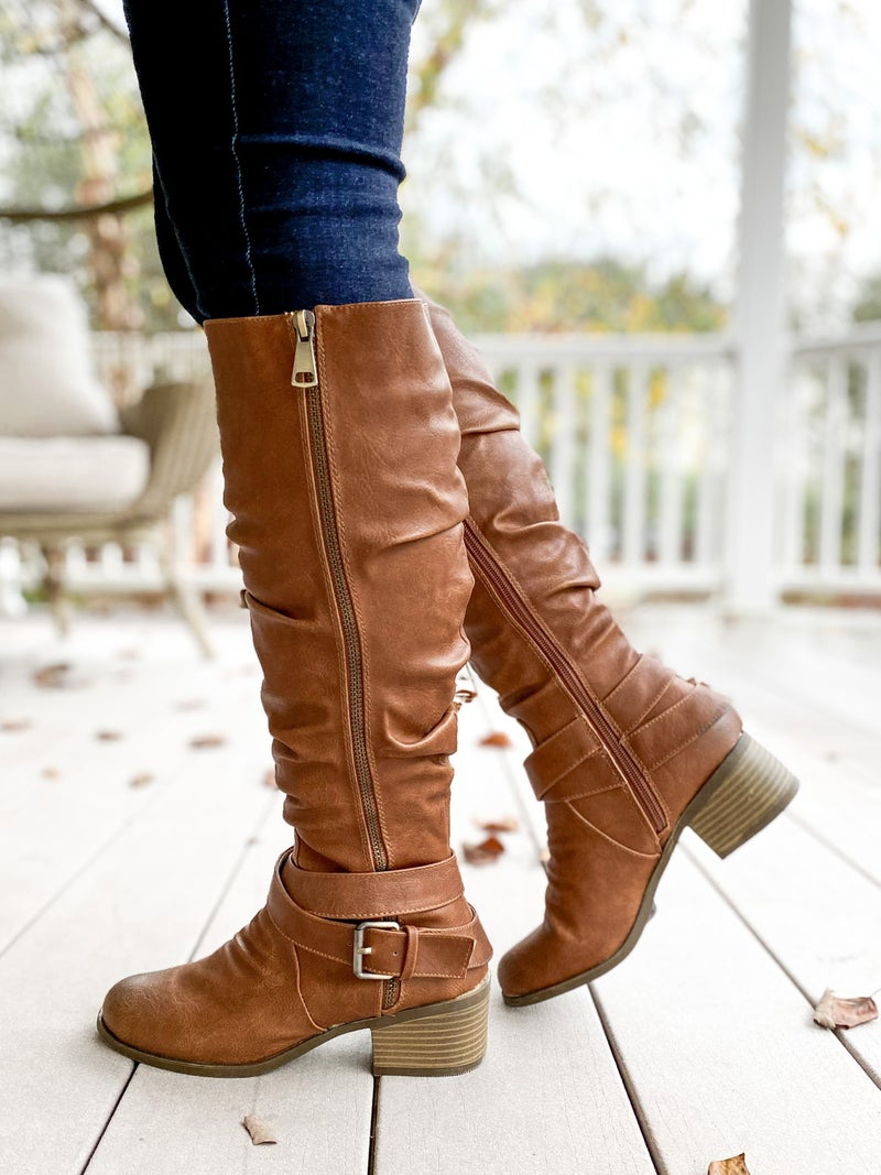 Slouchy Zipper Tan Riding Boots