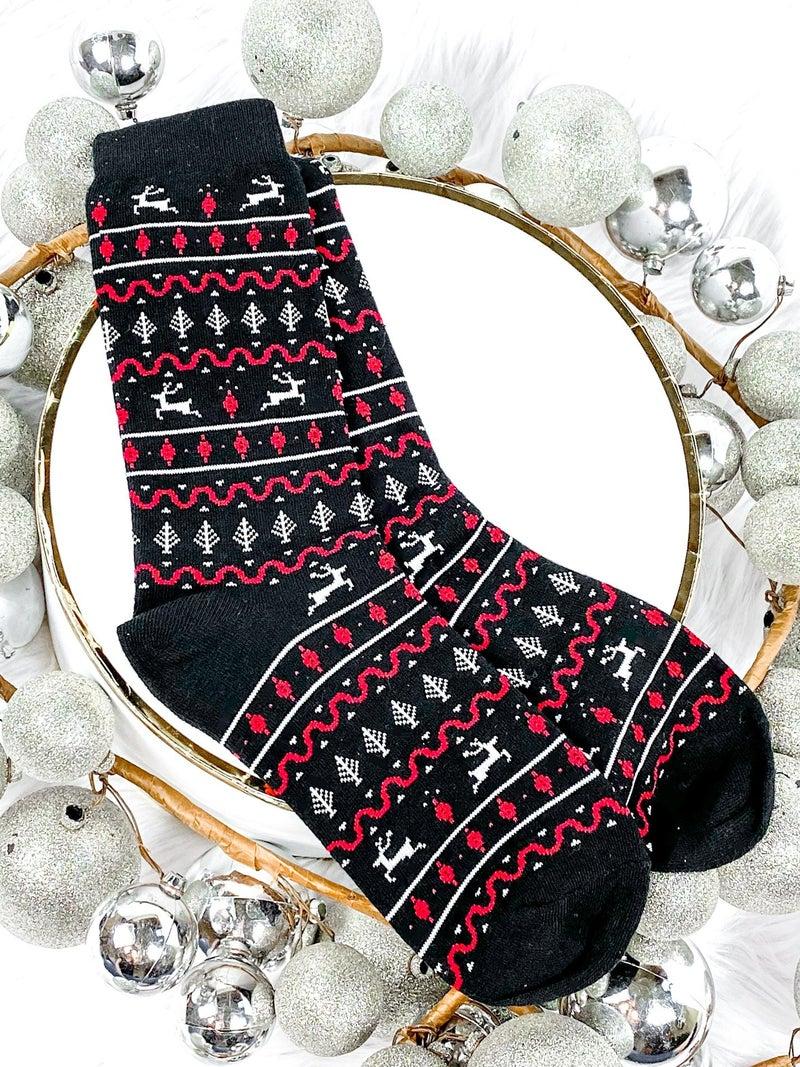 Men's Black Fair Isle Christmas Socks
