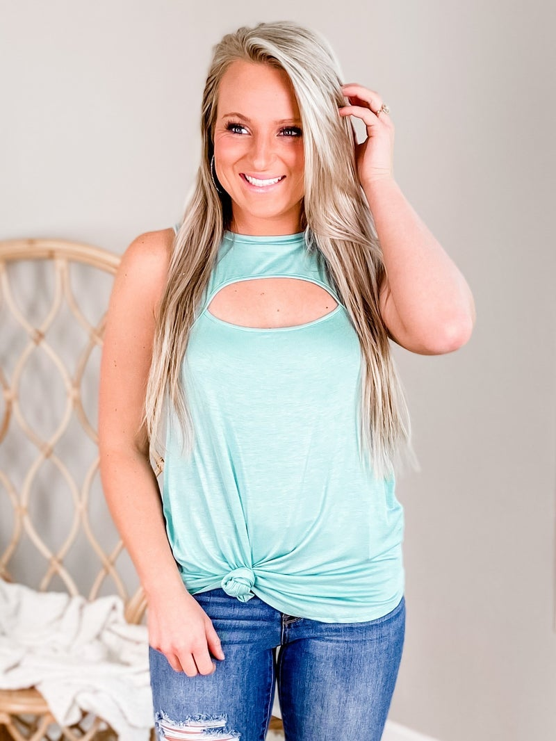 Solid Tank Top With Key Hole Front (Multiple Colors)