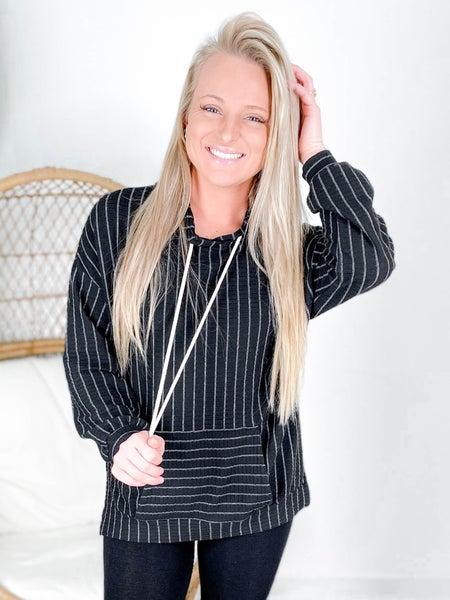 PLUS/REG Black & White Pinstripe Ribbed Knit Hoodie