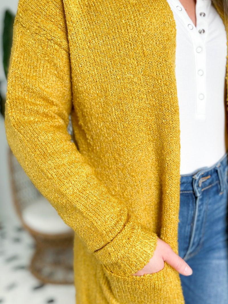 Mustard Long Knit Cardigan With Pockets