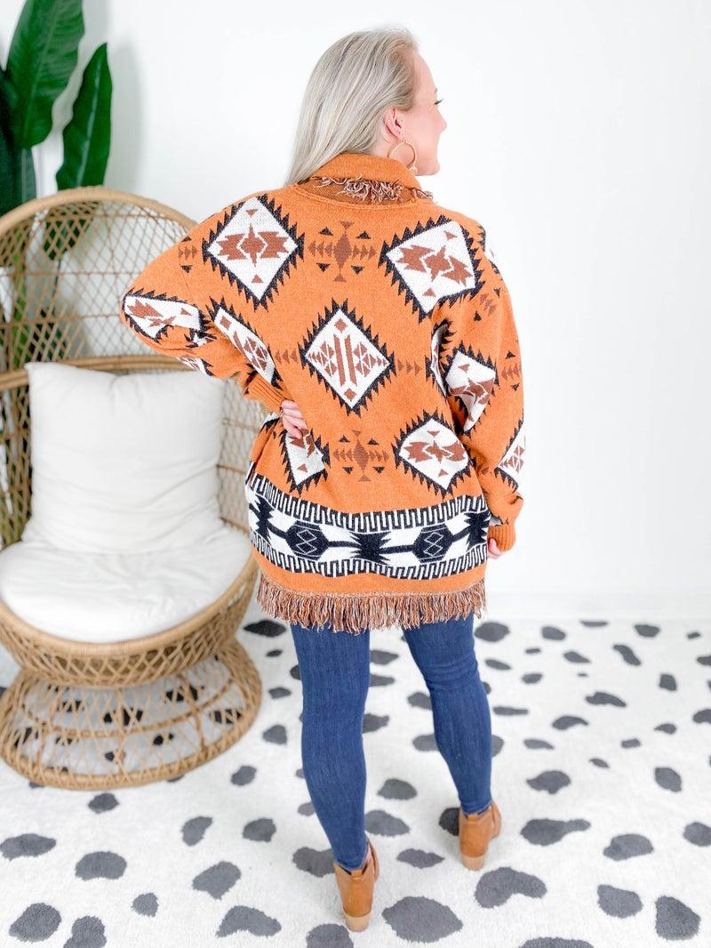 NEW COLOR! Aztec Fringe Open Cardigan (Multiple Colors)