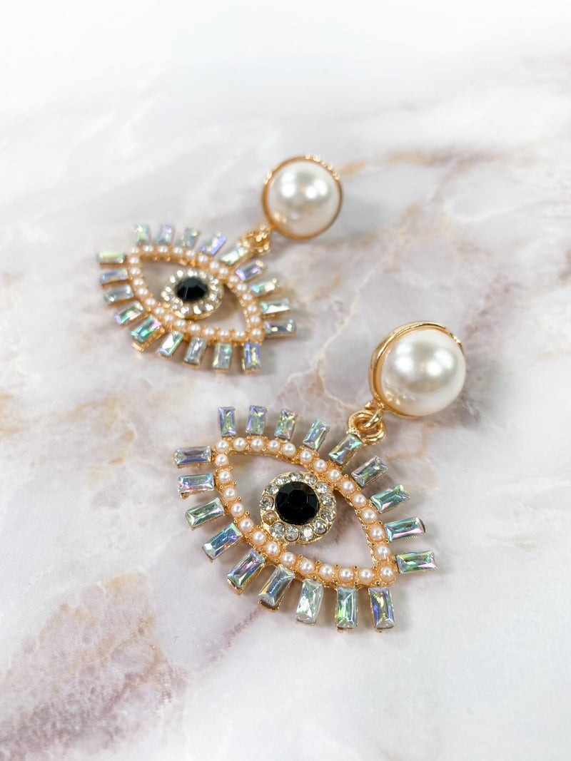 Marli Swarovski Clear Crystal Eyelash & Pearl Accent Earrings