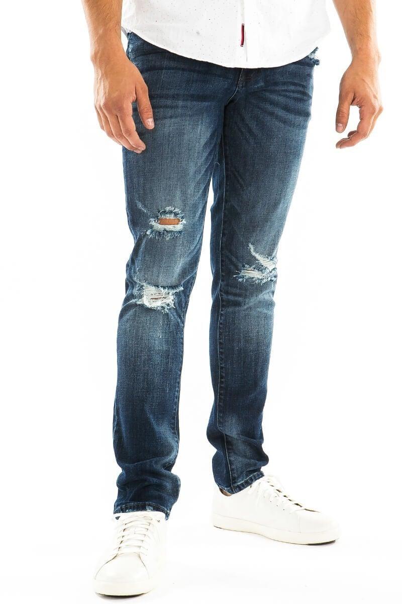 ManCan 5 Pocket Distressed Skinny Jeans