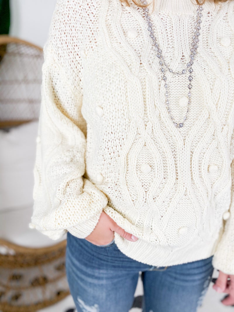 Pom Pom Cable Knit Sweater (Multiple Colors)