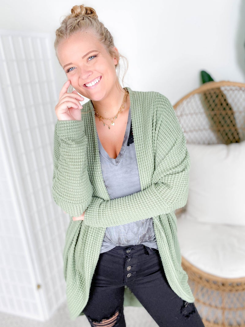 Open Waffle Knit Cocoon Cardigan (Multiple Colors)