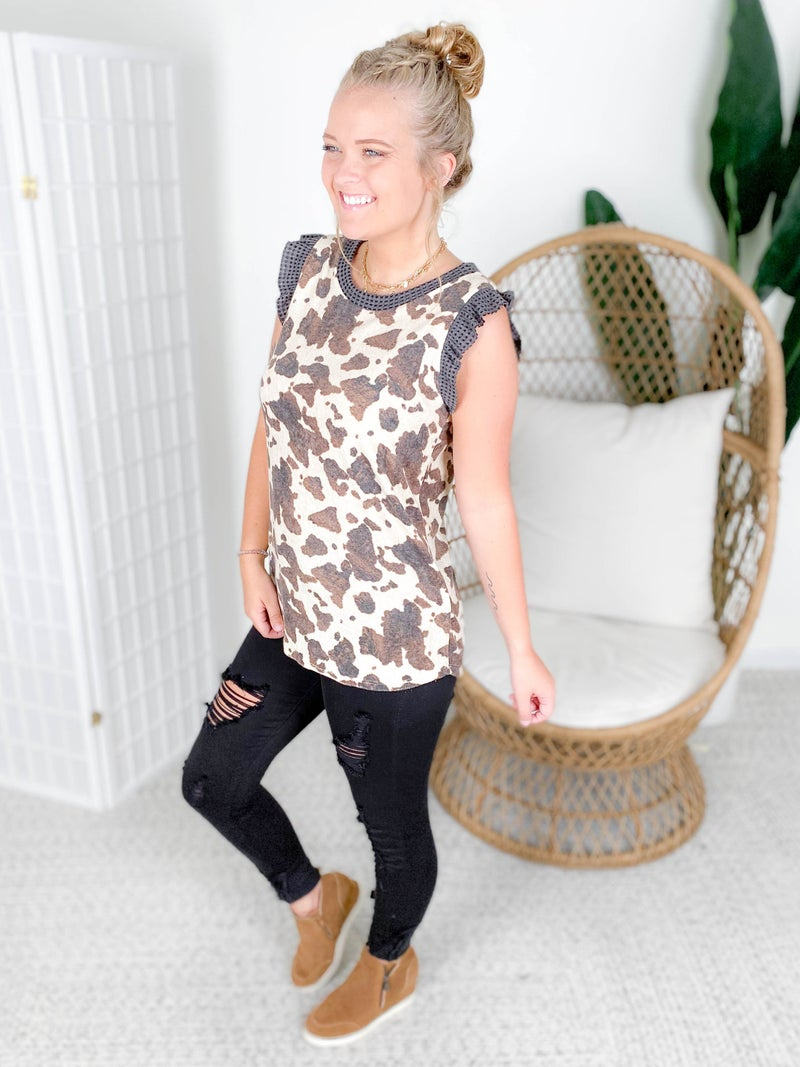Ruffle Sleeve French Terry Cow Print Top