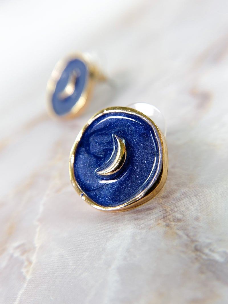 Restock!! Blue Moon Enamel Earrings