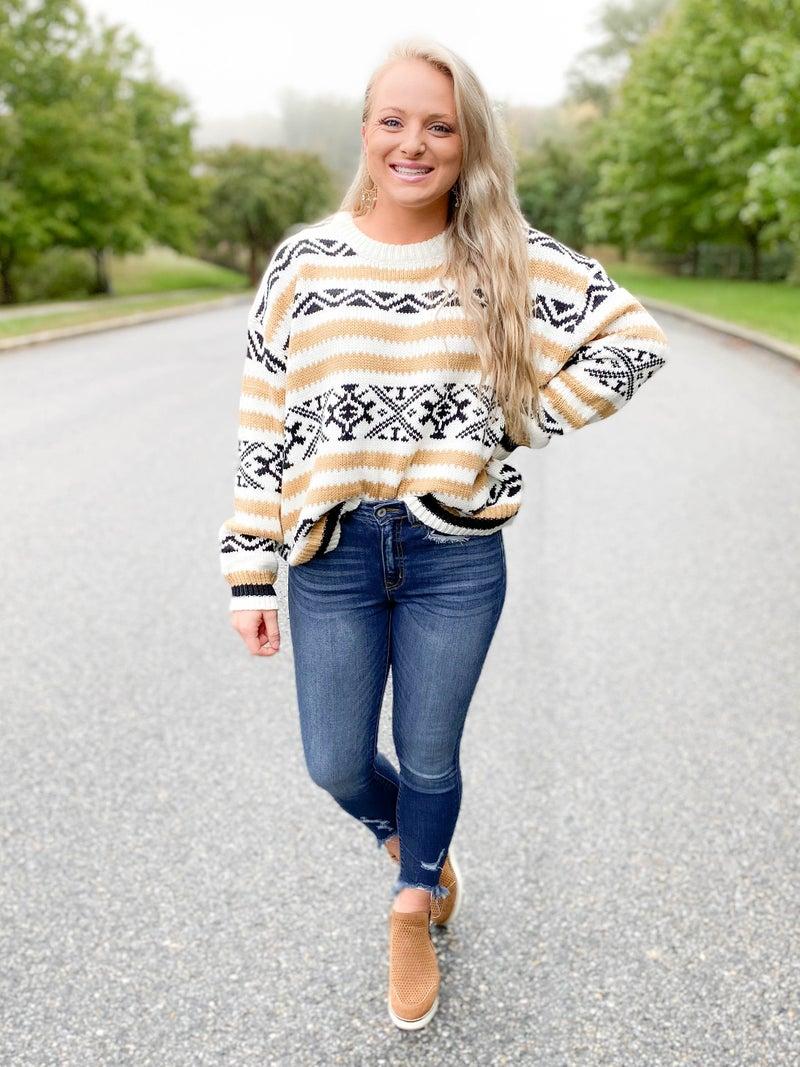 Black & Taupe Aztec Sweater