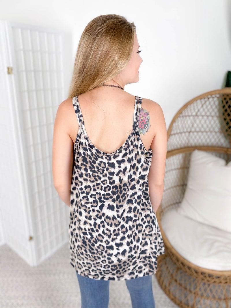 PLUS/REG Strappy Leopard Cami Top