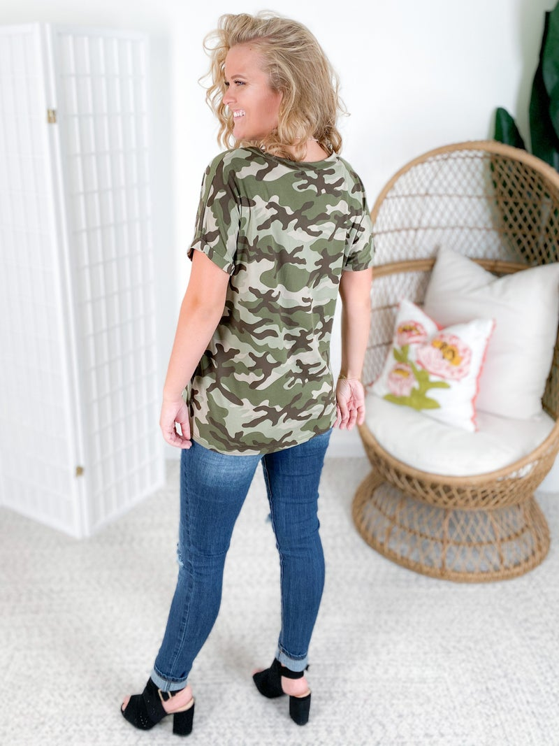 Camo & Lace Pocket Top with Rolled Sleeves