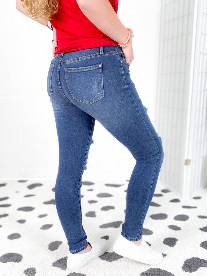 PLUS/REG Judy Blue Serape Patch Skinny Jeans